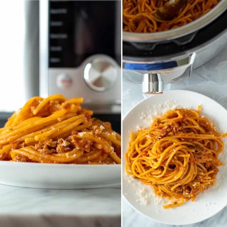 Two photo collage of plate of spaghetti in front of Instant Pot