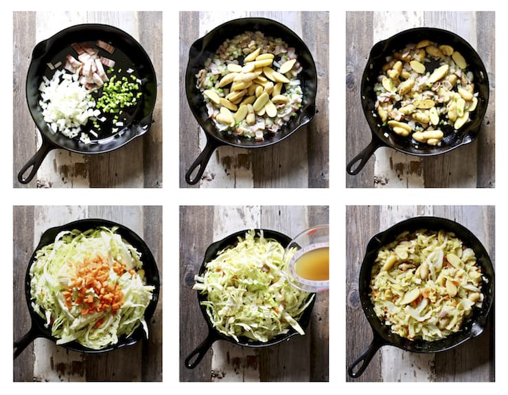 Braised cabbage and potatoes, six step by step process photos.