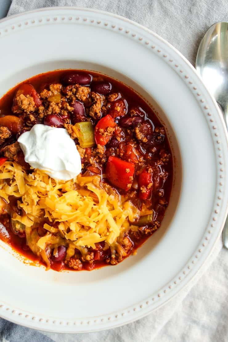 Healthy Ground Turkey Chili Recipe The Hungry Bluebird