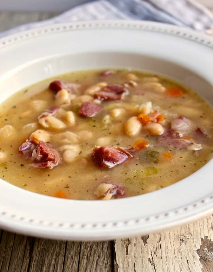 Instant Pot Ham and White Bean Soup, close up on an angle in serving bowl