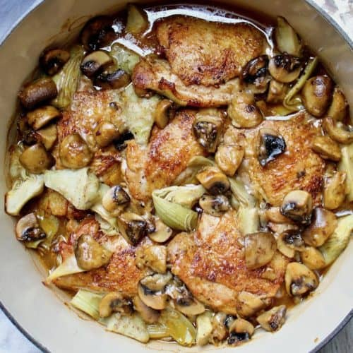 Braised Chicken with Artichokes in Mushroom-Sherry Sauce