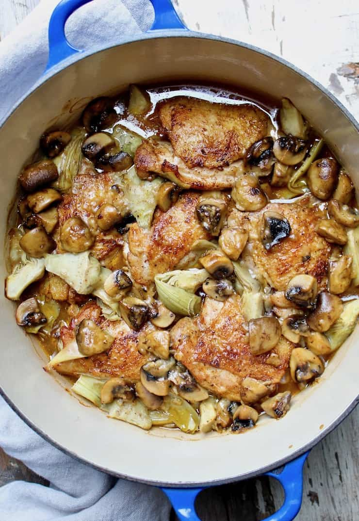 Braised Chicken With Artichokes And Mushrooms In Sherry Sauce Recipe