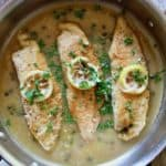 Overhead of Tilapia Piccata in skillet