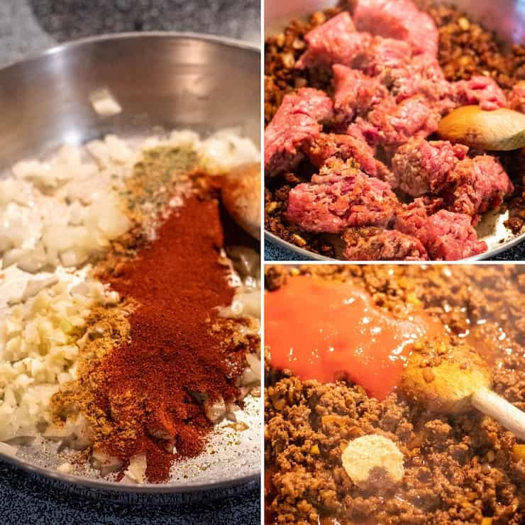Three photo process collage for making ground meat filling.