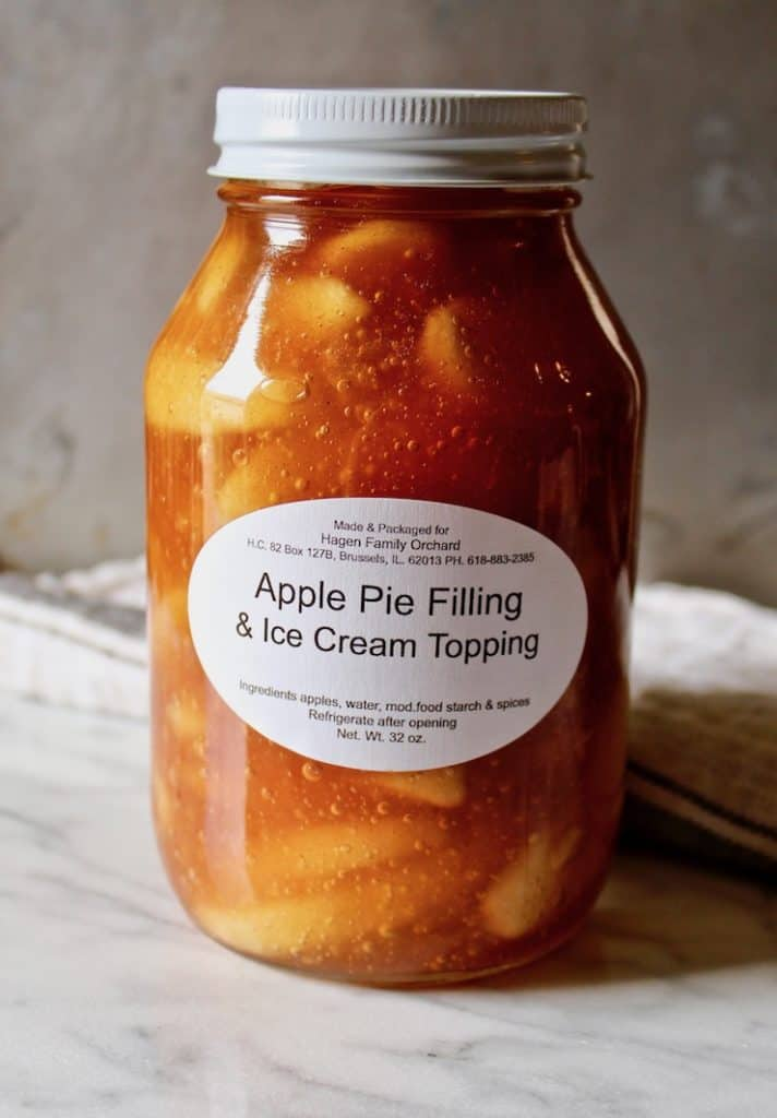 Jar of Amish apple pie filling