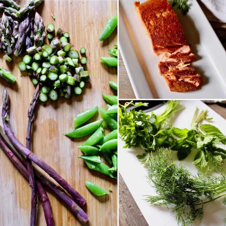 Ingredients photo, asparagus, smoked salmon, sugar snap peas and herbs.