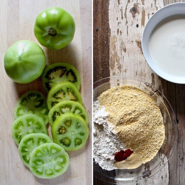 Sliced green tomatoes, cornmeal mixture and buttermilk.