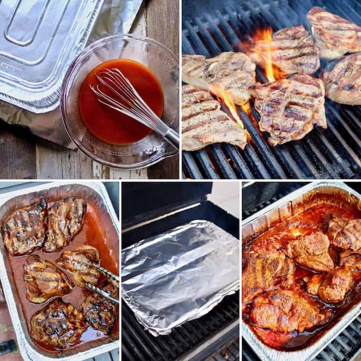 St. Louis BBQ Pork Steaks collage of five step by step photos