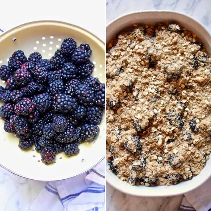 Fresh Blackberry Crisp side by side photo of blackberries and in the baking dish with topping.