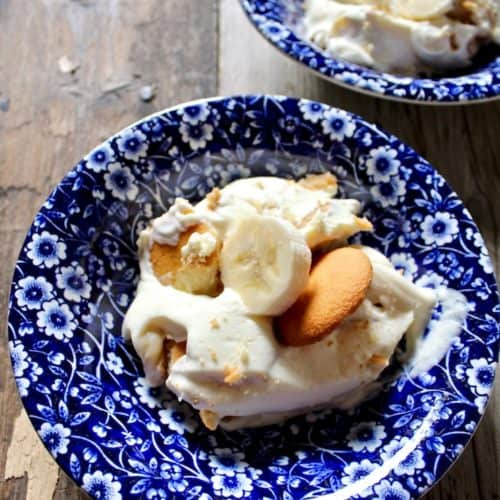 Magnolia Bakery's Famous Banana Pudding, single serving in blue dessert bowl