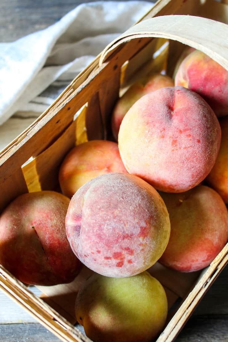 Basket of fresh peaches.