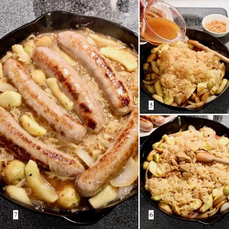 Sausage, Apple, Sauerkraut and Potato Skillet, step by step process collage, steps 5-7
