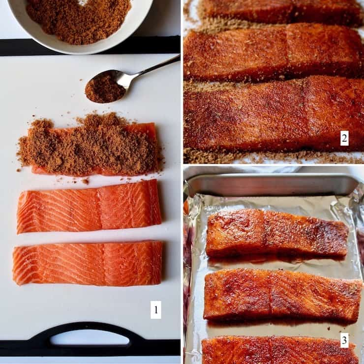 Cajun Brown Sugar Salmon, step by step photo collage