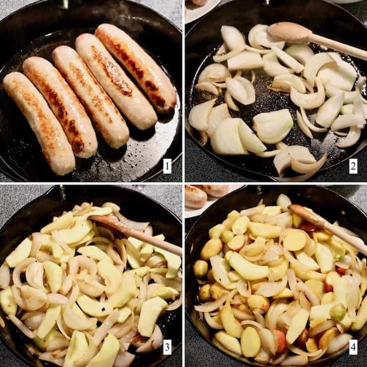 Sausage, Apple, Sauerkraut and Potato Skillet, step by step process collage, steps 1-4