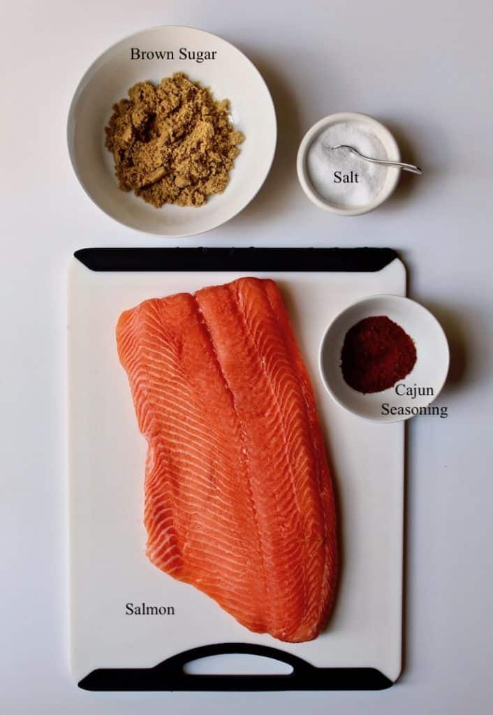 Cajun Brown Sugar Salmon, ingredients on cutting board, labeled