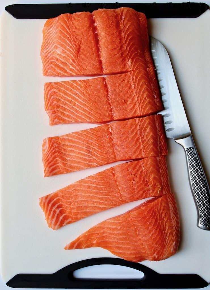 Cajun Brown Sugar Salmon, large piece of salmon cut into fillets