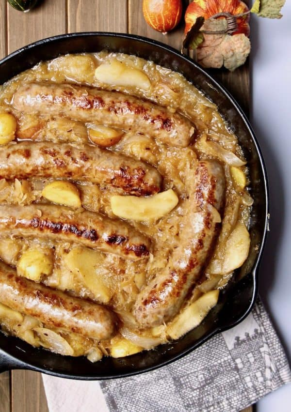 Sausage, Apple, Sauerkraut and Potato Skillet, in cast iron skillet.