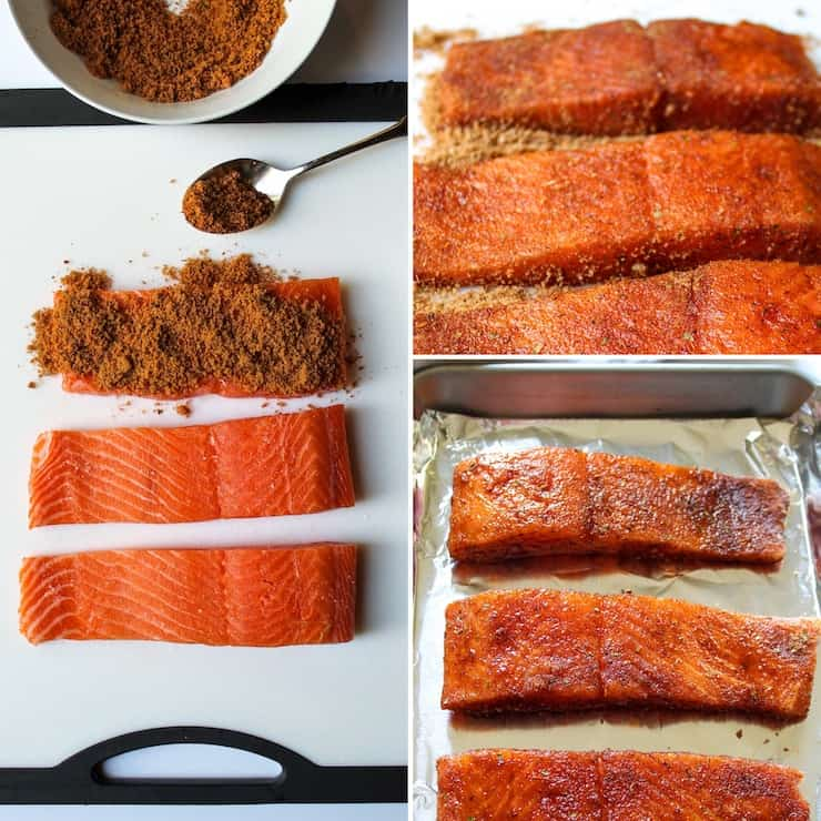 Process photo collage showing how to prepare salmon for baking.