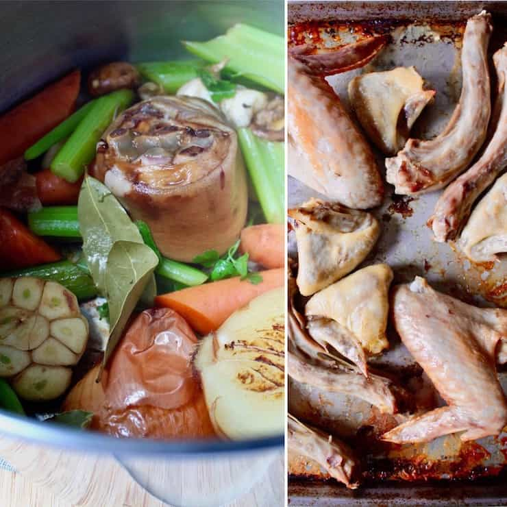 Homemade Turkey Stock, two photo collage showing browning turkey parts and vegetables in stock pot.