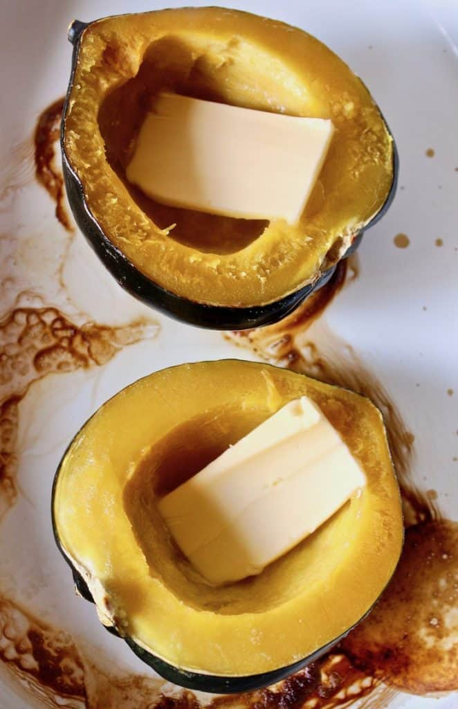 Baked Acorn Squash, butter added to baked halves