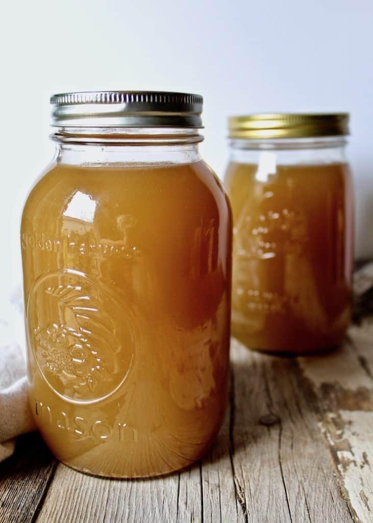 Homemade Turkey Stock, in two quart glass mason jars