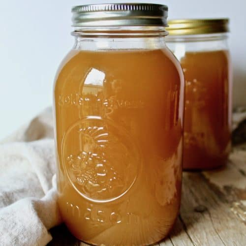 Homemade Turkey Stock, in quart mason jar