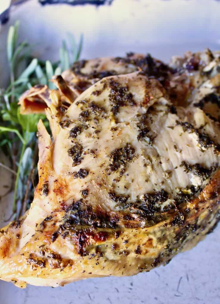 Herb Butter Instant Pot Turkey Breast, turkey breast after browning in oven