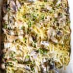 Overhead of turkey tetrazzini casserole