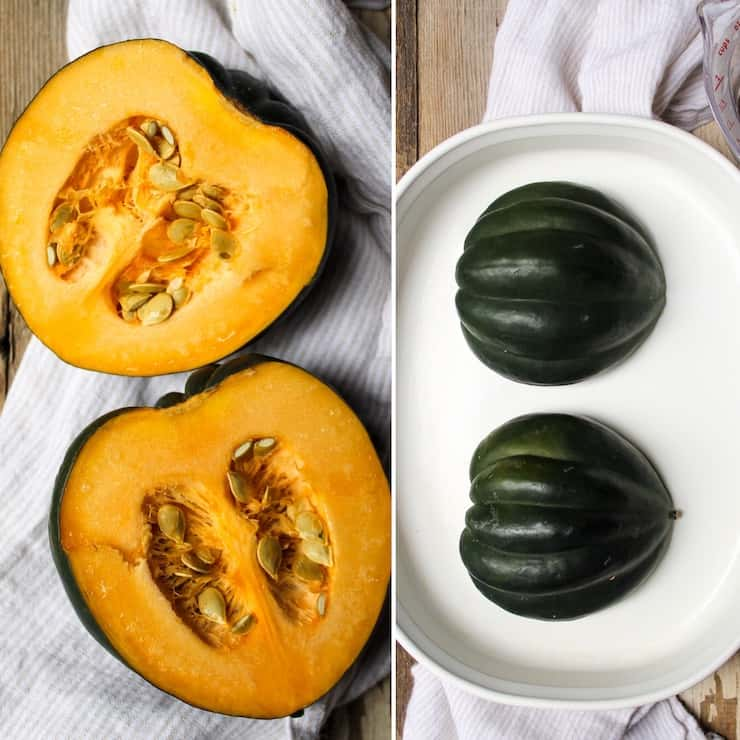 Two photo collage, prepping acorn squash.