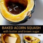 Baked Acorn Squash, pin for Pinterest showing three easy steps