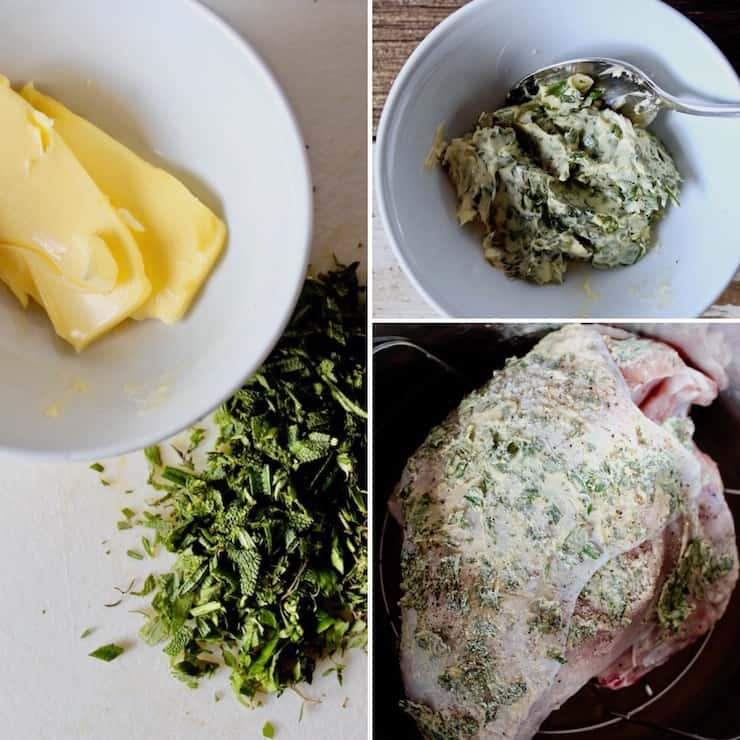 , photo collage of herb butter ingredients and rubbed on turkey