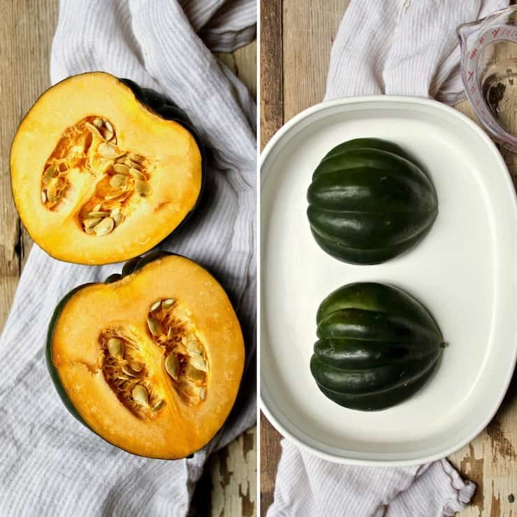 Baked Acorn Squash, side by side photos cut in half, and in baking dish with water