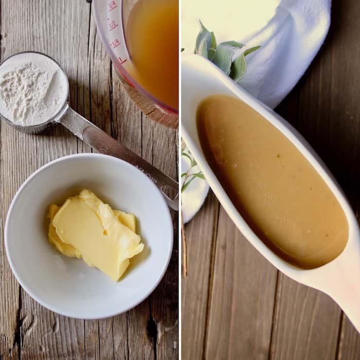 , collage of gravy ingredients, finished gravy is gravy boat