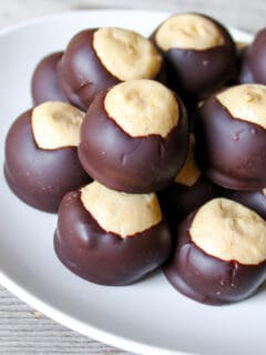 Plate of stacked buckeyes candy.