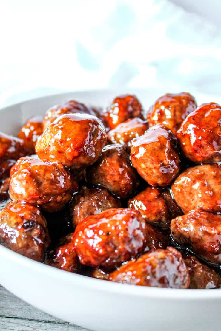 Blackberry jalapeno meatballs in serving bowl.
