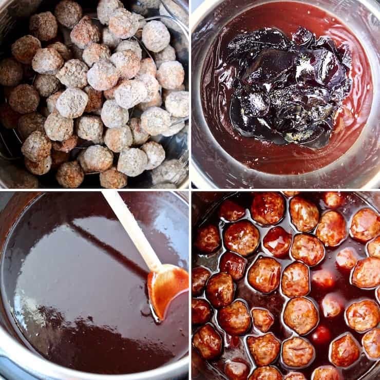 Instant Pot Blackberry Jalapeño BBQ Meatballs, step by step collage photo.