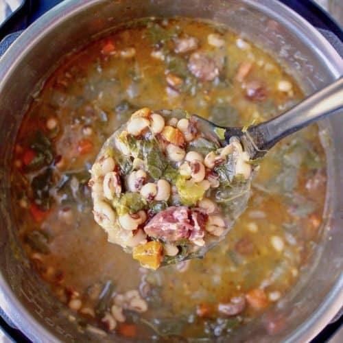 Instant Pot Black Eyed Pea Soup, ladle of soup over Instant Pot.