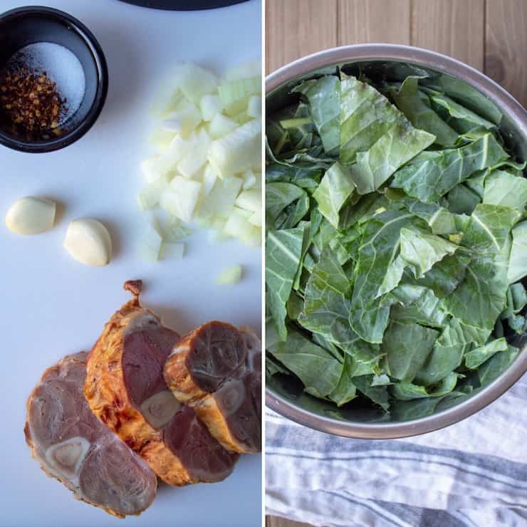 Instant Pot Collard Greens, two photo collage showing ingredients and chopped collards