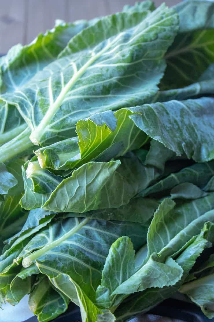Instant Pot Collard Greens, close up of collards greens