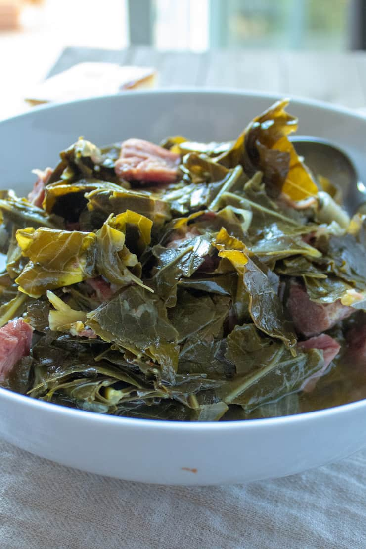 Instant Pot Collard Greens, side view in serving bowl.