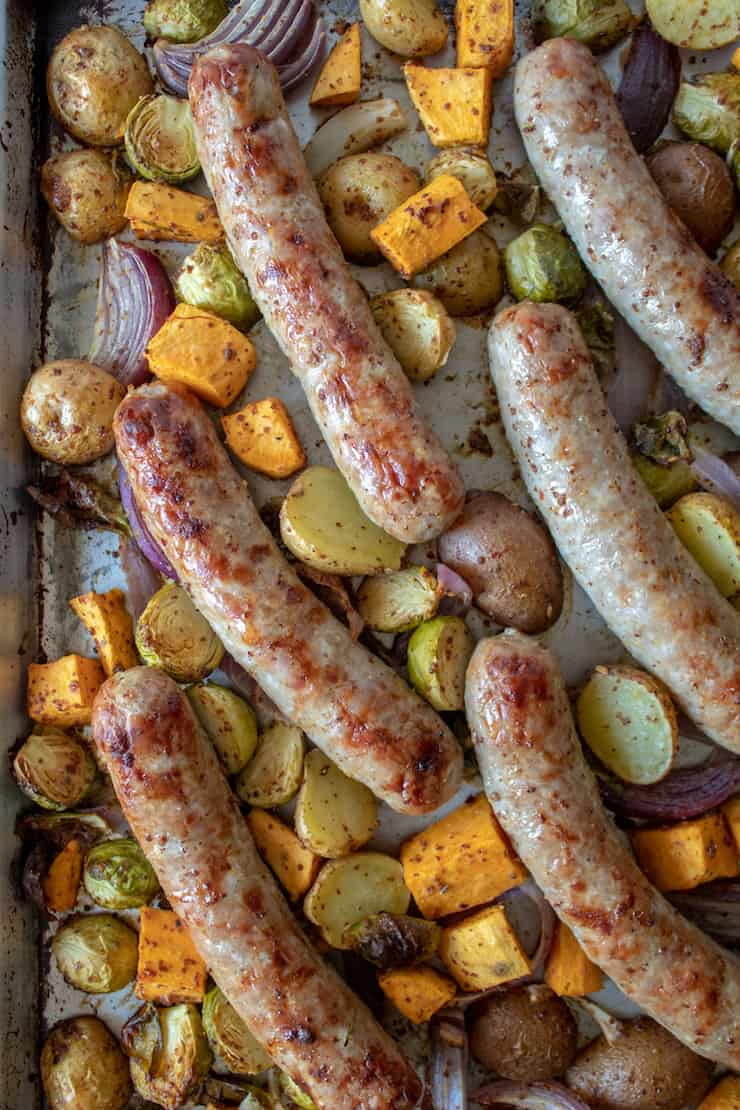 Sausage Sheet Pan Dinner, overhead on pan after roasting in oven.