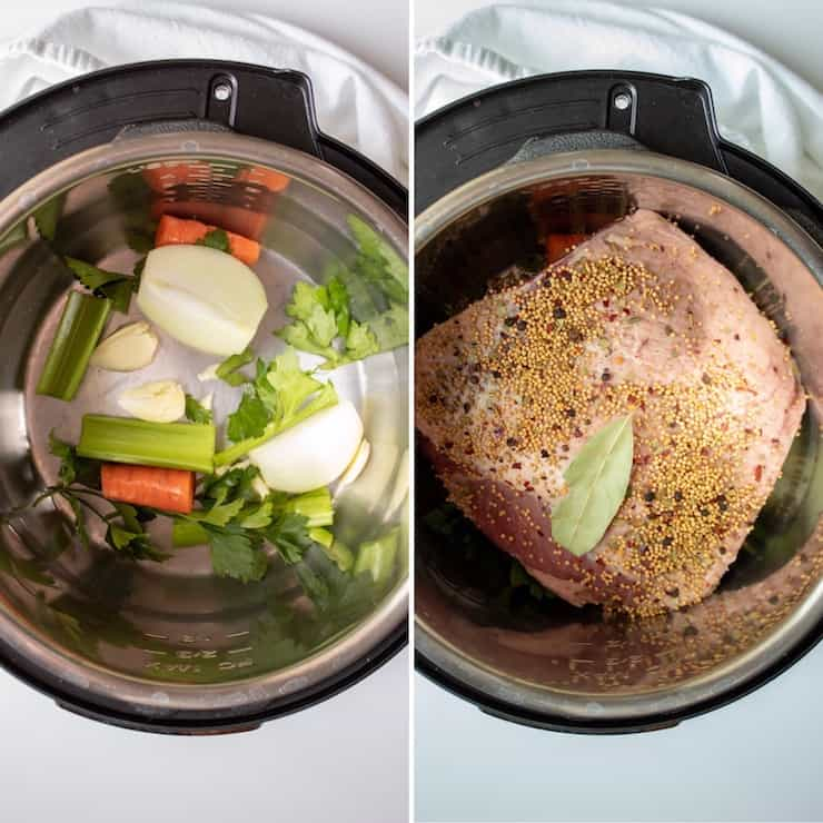 Instant Pot Corned Beef, two photo collage of Instant pot seasonings and corned beef brisket placed on top.