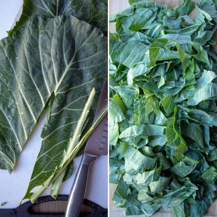 Instant Pot Collard Greens, two photo collage stemming and chopping cpllards