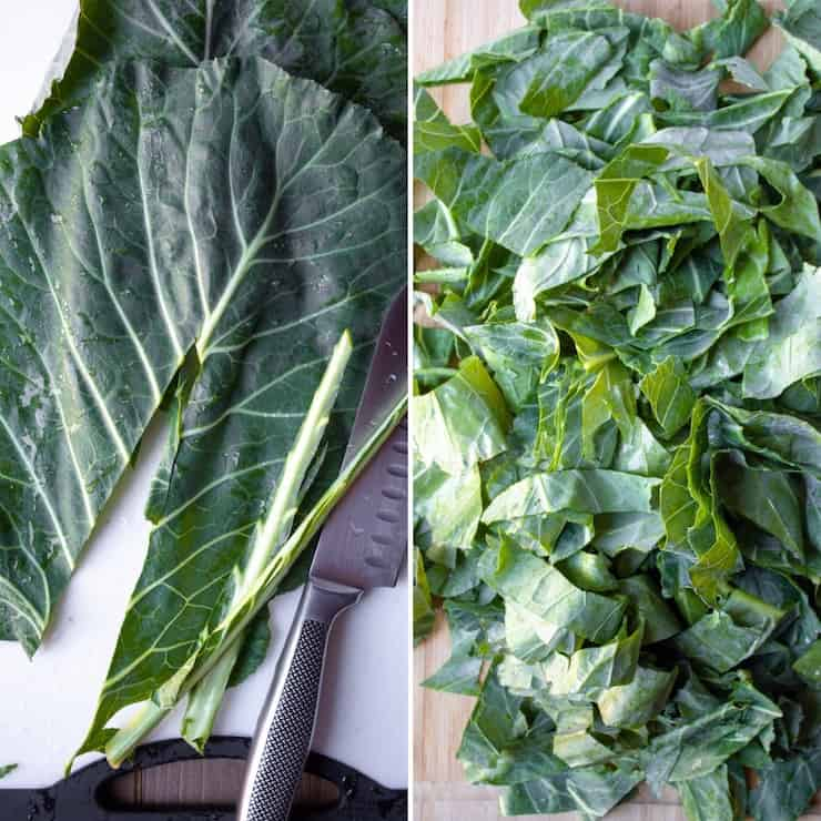 Photo collage of prepping collards for cooking.