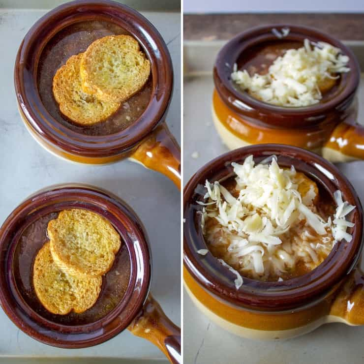 French Onion Soup, two photo collage with bread and cheese steps before oven.