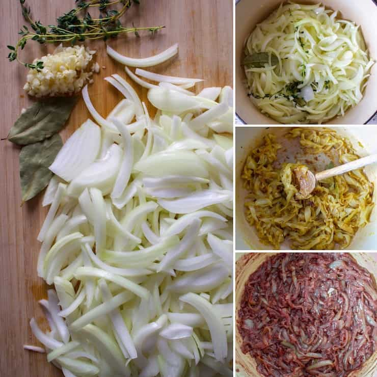 French Onion Soup, procees collage of caramelizing onions