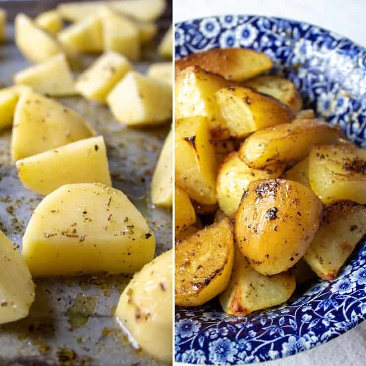 Greek potatoes, before and after roasting, in serving bowl.