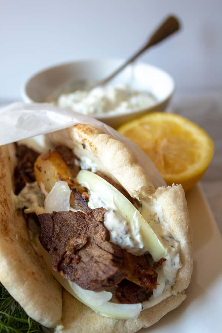 Gyros Sandwich, with leftover lamb and homemade tzatziki.