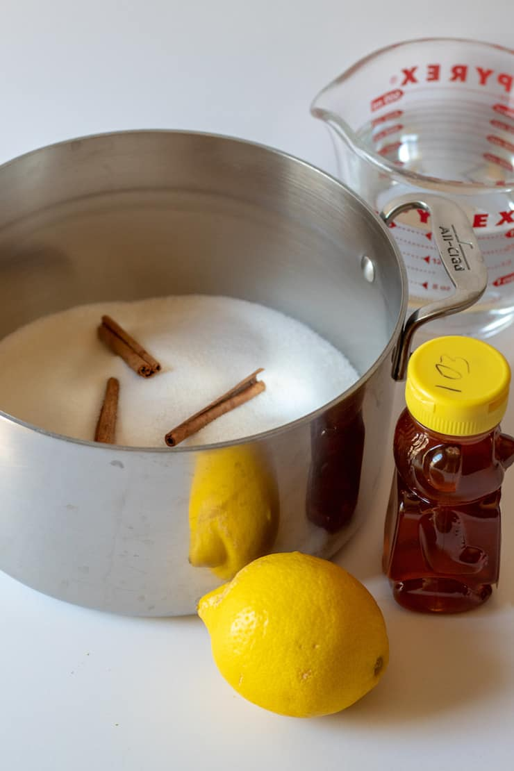 Honey-lemon syrup ingredients.