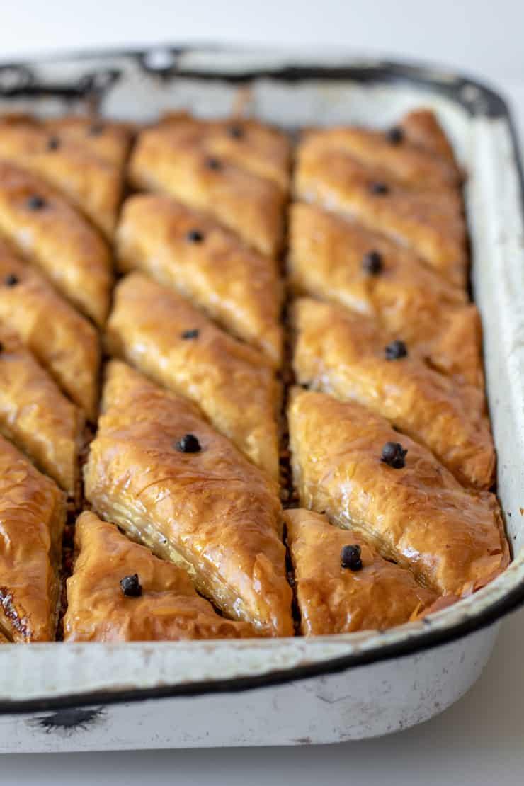 Greek Baklava, finished in pan.